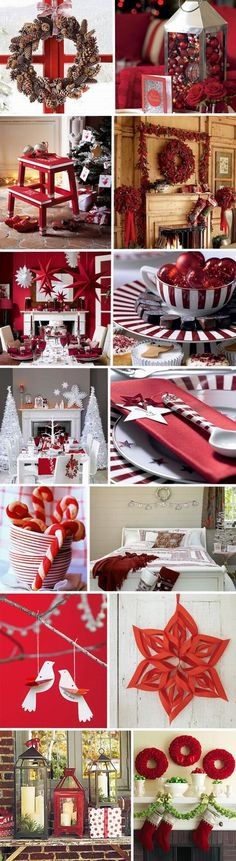 Red and white Christmas decorating: