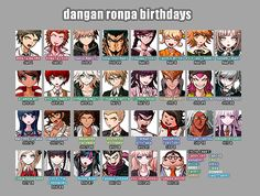 ichuu:  dangan ronpa birthday chart! have fun with this i'm going to bed good night   I always complain about why no one is scorpio.