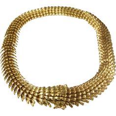 Gold Choker Necklace   18K Yellow Links   Vintage Swiss Chunky Retro