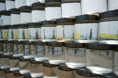 3,000 seawater stacked glass volumes by toshihiro komatsu - designboom   architecture & design magazine