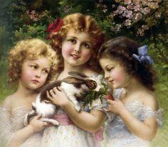 "Stunning Oil painting Emile Vernon - Three little girls with The Pet Rabbit 36"""
