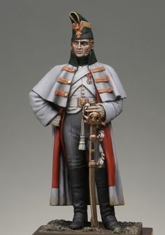 Dragoon of the guard in greatcoat 1813, France.
