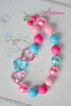 The Aurora Chunky Necklace for Girls, Triple Heart Necklace, Pink and Aqua Gumball Bubblegum Beads, toddler jewelry, princess inspired Toddler Jewelry, Baby Jewelry, Kids Jewelry, Beaded Jewelry, Handmade Jewelry, Jewelry Making, Beaded Bracelets, Childrens Jewellery, Chunky Bead Necklaces