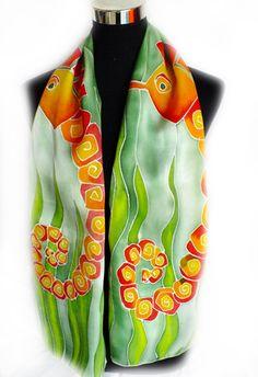 Seahorse design handpainted silk scarf by REDCAT-SILKART https://www.facebook.com/pages/RedCat-SilkArt/763364543697174?ref=hl