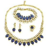 Wish | 2016 Dubai Fashion Women 18K Gold Plated Blue Crystal Jewelry African Charm Bridal Wedding Jewelry Sets AE2208 (Color: Gold)