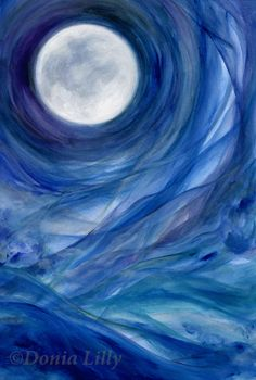 Full Moon painting - 5x7 print - blue, purple, green, white, original Moon art - Moontides II - by Kauai, Hawaii fine artist Donia Lilly