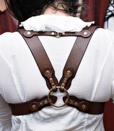 Brown leather and brass underbust shoulder harness - ZahirasBoudoir