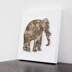 Rustic Modern Wall Decor Elephant Art 3D by TayberryDecor on Etsy