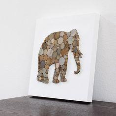 Rustic Modern Wall Decor Elephant Art 3D by TayberryDecor on Etsy