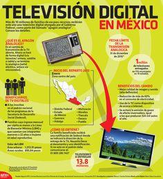 """Más de 10 millones de familias de escasos recursos recibirán este año una televisión digital otorgada por el Gobierno Federal, como parte del llamado """"apagón analógico"""". Conoce los detalles. #TV #Digital #Mexico #infographic"""