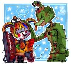 scraptrap: i'm prou for you scrapbaby: ¡thanks dad! Fnaf Baby, Adventure Time Girls, Scary Games, Fnaf Sl, Fnaf Sister Location, Fnaf Drawings, Circus Baby, Freddy Fazbear, Anime Fnaf