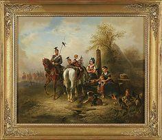 WILHELM ALEXANDER MEYERHIEM. MEYERHEIM, WILLEM ALEXANDER, Berittene Soldaten am Dorfbrunnen.