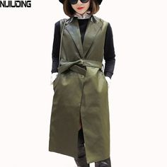 Daily Sale $32.78, Buy NIJIUDING Spring Autumn Fashion Women Long Vest Coat women Woman Clothes Casual tailored collar flap pockets Leather Jacket