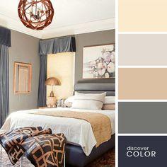 Спальня в серых и бежевых оттенках | DiscoverColor.ru