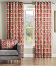 Image for Uppsala Eyelet, Coral - Ready Made Curtains
