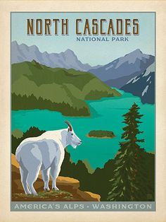 North Cascades National Park - Anderson Design Group has created an award-winning series of classic travel posters that celebrates the history and charm of America's greatest cities and national parks. Founder Joel Anderson directs a team of talented Nashville-based artists to keep the collection growing. This print celebrates the rustic beauty of North Cascades National Park.<br />
