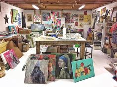 Before and After of the Basement art studio - Ashley Hackshaw Lil Blue Boo  Art Studio - Great Smoky Mountains