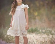Ivory lace dress Baptism girlrustic flower girl by SweetValentina