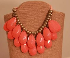 Coral Tear Drop Statement Necklace from Southern Jewelry Auctions on Facebook!