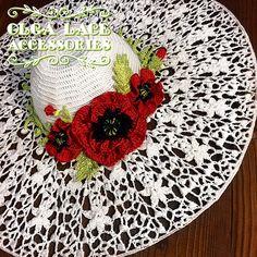 Купить Вязаная шляпа с маками от Olga Lace - белый, мак, красный мак, красные маки