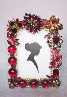 Red Rhinestone Vintage Jewelry Embellished by dJonVintageDesign