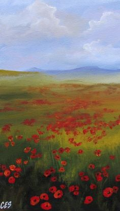 Original Painting by CES - Poppy Field Floral Flowers Landscape Wildflowers Red Green ART 8x16