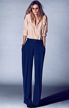 button front flared Vneck collar with drop pleated front trousers. 70's chic. no cuffs though.