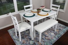 4 Person - 5 Piece Kitchen Dining Table Set is made of Hardwood Table Top, easy to Clean Leather Chairs; Assembly Required for Table, Bench, and Chairs. White Kitchen Table Set, White Gloss Dining Table, Black Round Dining Table, Kitchen Table Chairs, Dining Room Chairs, Dining Room Furniture, Table And Chairs, Kitchen Dining, Table Bench