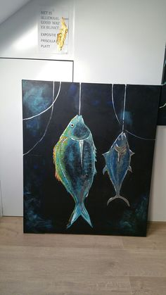 Foodart.My painting of dorade fish tuna fish.acryl cotton.Foodart.www.hoezokunst.com.