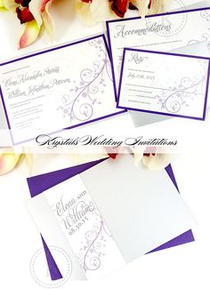 The Elena Suite - Magical and Whimsical Pocketfold Wedding Invitations - Krystals Wedding Invitations #weddings #weddinginvitation