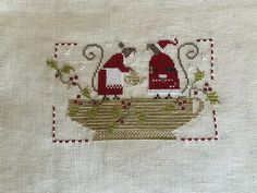 completed cross stitch With Thy Needle And Thread Christmas Tea Christmas Tea, Christmas Cross, Everything Cross Stitch, Needle And Thread, Embroidery, Holiday Decor, Ebay, Things To Sell, Counted Cross Stitches