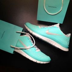 Tiffany | Blue Nike workout shoes. #WANT