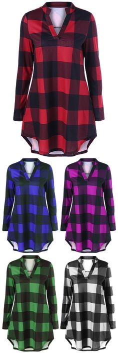 Plaid Split-Neck T-Shirt ~ $14.81 at dresslily.com
