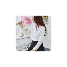 Peter Pan Collar Chiffon Blouse ($11) ❤ liked on Polyvore featuring tops, blouses, women, white peter pan collar blouse, peter pan top, white chiffon blouse, white blouse and peter pan collar top