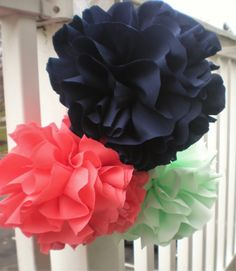Coral navy mint fabric pom poms 10 9 8 set of 3 by DellaCartaDecor