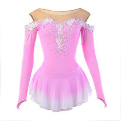Ice Skating Dress Women's Long Sleeve Skating Dresses High Elasticity Figure Skating Dress Breathable / Wearable Flower(s) / LaceSpandex - USD $ 48.99