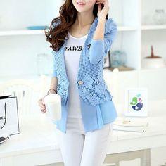 Fashion Lace Chiffon Splicing V-neck One Button Small Jacket  #v-neck -  #small