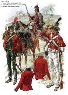 Foreign troops in British service, Haiti, 1795-1798. Officer Uhlans Britanniques, 1796. Fusilier Gendarmes Royaux Anglais, 1795. Trooper York Hussars, 1796-1798.: