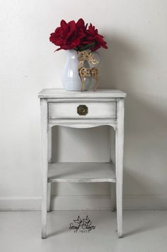 Small table painted in Annie Sloan Pure White and Black wax.