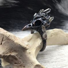 Electroformed Bird Skull Crystal Ring