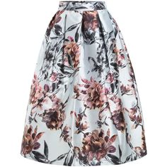 Florals Flare Skirt With Zipper (130 SAR) ❤ liked on Polyvore featuring skirts, zip skirt, flared floral skirt, circle skirt, floral circle skirt and floral print skater skirt