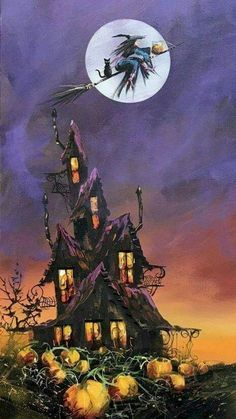 35 Best Halloween Wallpaper Ideas - Ideas for You - Retro Halloween, Halloween Kunst, Halloween Artwork, Halloween Painting, Halloween Images, Halloween Themes, Witch Painting, Whimsical Halloween, Halloween Decorations