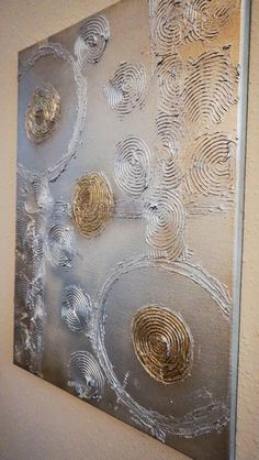 Textured abstract painting / art on 18 x 24 canvas / textured art / abstract art / contemporary / circles / wall art / original - Malerei Kunst - NL Abstract Canvas Art, Acrylic Art, Textured Canvas Art, Art Texture, Art Sur Toile, Glue Art, Gold Leaf Art, Diy Wall Art, Diy Art
