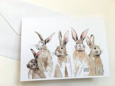 Bunny printed watercolor cards set of 8 cards and by KBerriganArt