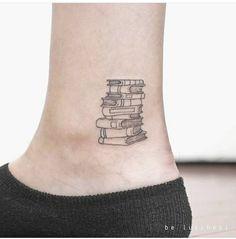 Book Stack Tattoo #tattooidea #booktattoo #readerstattoo Sweet Tattoos, Dainty Tattoos, Small Wrist Tattoos, Cute Small Tattoos, Spine Tattoos, Little Tattoos, Cool Tattoos, Ankle Tattoos, Future Tattoos