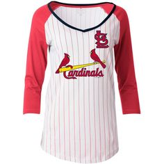 5th & Ocean Women's St. Louis Cardinals Pinstripe Glitter Raglan... ($35) ❤ liked on Polyvore featuring tops, t-shirts, white, mlb t shirts, graphic design t shirts, graphic design tees, graphic print t shirts and raglan top