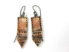 Washed Red Tie Earrings - Rustic Artisan Ceramic Earrings No. 121 - pinned by pin4etsy.com