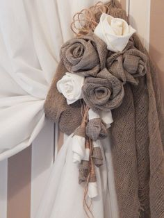 Rustic Curtain Tie Back, Organic Linen Flower Curtain TieBack, Curtain Holdbacks, Rustic Home Decor, Country Home by Vishemir on Etsy - Dome Decoration Drop Cloth Curtains, Burlap Curtains, Window Curtains, Roman Curtains, Beige Curtains, Purple Curtains, Ikea Curtains, Boho Curtains, Nursery Curtains