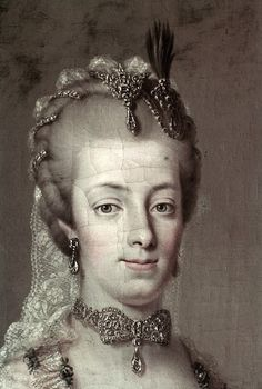Closeup of a portrait of Maria Amalia, Duchess of Parma. She was one of the daughters of Maria Theresa and Francis I, and an elder sister of Marie Antoinette.