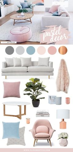 Pastel home decor and interior inspiration. Scandi design mixed with soft blush pink and powder blue hues. |